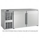 "Perlick BBSLP60_BRSDC 60"" Low Profile Back Bar Refrigerator, Black Vinyl Doors and Right Condensing Unit"