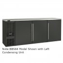"Perlick BBSLP84_BRSDC 84"" Low Profile Back Bar Refrigerator, Black Vinyl Doors and Right Condensing Unit"