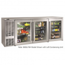 """Perlick BBSLP84_SSRGDC 84"""" Low Profile Back Bar Refrigerator, Glass Doors with Stainless Steel Frames and Right Condensing Unit"""