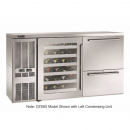 """Perlick DZS60_SSLDRWGDC_WW 60"""" Dual-Zone Back Bar Refrigerated Beer and Wine Storage Cabinet, with Drawers, Glass Door with Stainless Steel Frame, WW Thermostat, and Left Condensing Unit"""