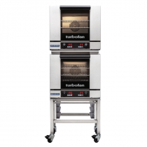 """Moffat E23D3/2C 24"""" Turbofan Half-Size Digital/Electric Double Stack Convection Oven With Porcelain Oven Chamber On 3"""" Castor Base Stand, 230-240V"""
