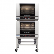 """Moffat E28D4/2C 31-7/8"""" Turbofan Full-Size Digital/Electric Double Stack Convection Oven With Porcelain Oven Chamber On 3"""" Castor Base Stand, 208V or 220-240V"""