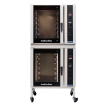 """Moffat E35D6-26/2C 35-7/8"""" Turbofan Full-Size Digital/Electric Double Stack Convection Oven With Porcelain Oven Chamber On 3"""" Castor Base Stand, 208V or 220-240V"""