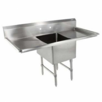 """Empura BPS-1818-1-18-FC 54"""" Wide 1 Compartment 16/304 Stainless Steel Sink With 18"""" x 18"""" x 14"""" Deep Bowl And Two 18"""" Drainboards"""