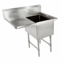 """Empura BPS-1818-1-18L-FC 38 1/2"""" Wide 1 Compartment 16/304 Stainless Steel Sink With 18"""" x 18"""" x 14"""" Deep Bowl And One 18"""" Left Side Drainboard"""