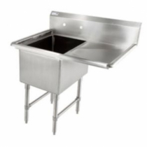 """Empura BPS-1818-1-18R-FE 38 1/2"""" Wide BPFE Series 1 Compartment 18/304 Stainless Steel Sink With 18"""" x 18"""" x 12"""" Deep Bowl And One 18"""" Right Side Drainboard"""