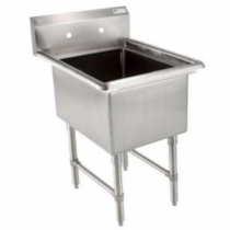 """Empura BPS-1818-1-FC 23"""" Wide 1 Compartment 16/304 Stainless Steel Sink With 18"""" x 18"""" x 14"""" Deep Bowl Without Drainboard"""