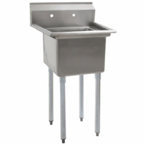 """Empura BPS-1818-1-FE 23"""" Wide BPFE Series 1 Compartment 18/304 Stainless Steel Sink With 18"""" x 18"""" x 12"""" Deep Bowl Without Drainboard"""