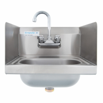 """Empura E-HS15SPWF 15"""" Stainless Steel Hand Sink with Side Splashes"""