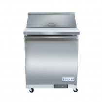 """Empura E-KSP29 28.9"""" Stainless Steel Sandwich/Salad Table Refrigerator With 1 Solid Door, 8 Pans And 11"""" Cutting Board - 7 Cu Ft, 115 Volts"""