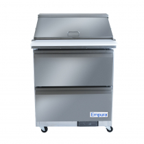 """Empura E-KSP29M-D2 28.9"""" Stainless Steel Mega Top Sandwich/Salad Table Refrigerator With 2 Drawers, 12 Pans And 9"""" Cutting Board, 115 Volts"""