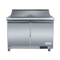 """Empura E-KSP48M 48.2"""" Stainless Steel Mega Top Sandwich/Salad Table Refrigerator With 2 Solid Doors, 18 Pans And 9"""" Cutting Board - 12 Cu Ft, 115 Volts"""