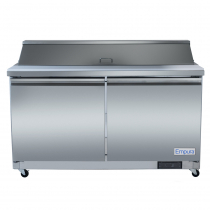 """Empura E-KSP60M 61.2"""" Stainless Steel Mega Top Sandwich/Salad Table Refrigerator With 2 Solid Doors, 24 Pans And 9"""" Cutting Board - 15.5 Cu Ft, 115 Volts"""