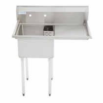 """Empura E-S1C181811-18R 18""""  x 18"""" x 11"""" Stainless Steel 1 Compartment Sink With 18"""" Right Drainboard"""