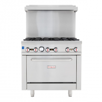 "Empura EGR-36 36"" Stainless Steel Commercial Gas Range with Oven, 6 Burners, 211,000 BTU"