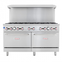 """Empura EGR-60 60"""" Stainless Steel Commercial Gas Range with Two Ovens, 10 Burners, 362,000 BTU"""