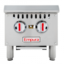 """Empura EHP-2 12"""" Stainless Steel Heavy Duty Gas Hot Plate with Two Burners, 50,000 BTU"""