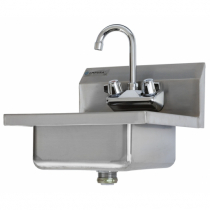 """Empura EM-7PS-12 16-1/2"""" Stainless Steel Wall Mount Hand Sink with Gooseneck Faucet, 12"""" W x 10"""" L x 5"""" H Bowl"""