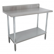 """Empura EM-LAG-SB-3048 30"""" x 48"""" Stainless Steel Commercial Work Table with Galvanized Legs and Undershelf with 4"""" Upturn"""