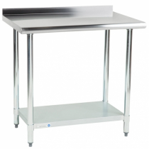 """Empura EM-LAGU-2436 24"""" x 36"""" Stainless Steel Commercial Work Table with Galvanized Legs and Undershelf with 1.5"""" U-Turn"""