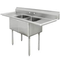 """Empura EMFC-2-1818LR 42"""" Stainless Steel 2 Compartment Commercial Sink With 2 Drainboards, 18"""" x 18"""" x 11"""" Bowls"""