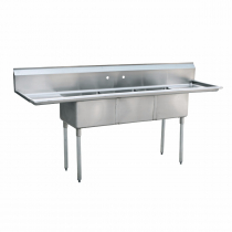 """Empura EMFC-3-1824LR Stainless Steel 3 Compartment Commercial Sink With 2 Drainboards, 18"""" x 24"""" x 14"""" Bowls"""