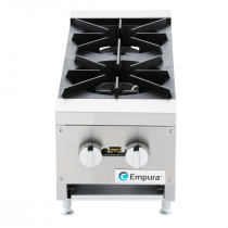"""Empura EMHP2-HD 12"""" Stainless Steel Heavy Duty Gas Hot Plate With 2 Burners, 53,000 BTU"""