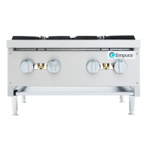 """Empura EMHP4-HD 24"""" Stainless Steel Heavy Duty Gas Hot Plate With 4 Burners, 106,000 BTU"""
