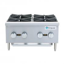 "Empura EMSHP-4 24"" Stainless Steel Medium Duty Gas Hot Plate With 4 Burners, 104,000 BTU"