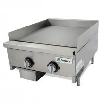 "Empura EMSTG24-HD-1PLT 24"" Stainless Steel Heavy Duty Thermostat Controlled Gas Griddle, 60,000 BTU"