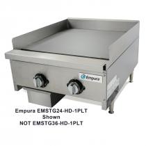 "Empura EMSTG36-HD-1PLT 36"" Stainless Steel Heavy Duty Thermostat Controlled Gas Griddle, 90,000 BTU"