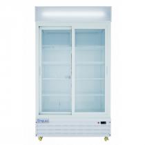 "Empura ESM-36W 44.5"" White Sliding Glass Door Merchandiser Refrigerator With 2 Doors, 36 Cubic Ft, 115 Volts"