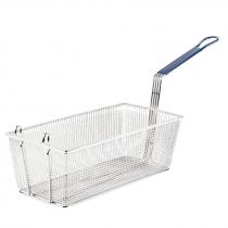 "Empura FBR-13558 Blue Handle 13 1/4"" x 5 5/8"" x 5 5/8"" Fryer Basket With Front Hook"