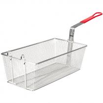 """Empura FBR-13612 Red Handle 12 7/8"""" x 6 1/2"""" x 5 3/8"""" Fryer Basket With Front Hook"""