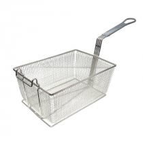 """Empura FBR-13912 Gray Handle 13 1/4"""" x 9 1/2"""" x 6"""" Fryer Basket With Front Hook"""