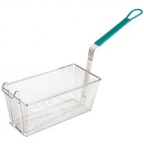 """Empura FBR-16315 Green Handle 13 1/4"""" x 6 1/2"""" x 5 7/8"""" Fryer Basket With Front Hook"""