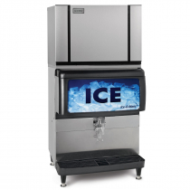 "Ice-O-Matic CIM0636HA/IOD250 600 LB 30"" Air-Cooled Half Cube Ice Machine w/ Ice Dispenser and Required Bin Kit KBT25030"