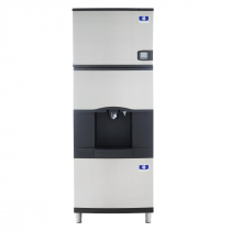 "Manitowoc IYF0300A/SFA291 30"" Air-Cooled 325 LB Half Dice Cube Ice Machine w/ SFA291 Hotel Dispenser"