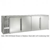 "Perlick BBS108_BRSDC 108"" Back Bar Refrigerator, Black Vinyl Doors and Right Condensing Unit"