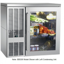 """Perlick BBS36_SSRGDC 36"""" Back Bar Refrigerator, Glass Door with Stainless Steel Frame and Right Condensing Unit"""
