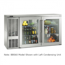"""Perlick BBS60_SSRGDC 60"""" Back Bar Refrigerator, Glass Doors with Stainless Steel Frames and Right Condensing Unit"""