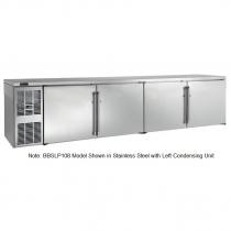 "Perlick BBSLP108_BRSDC 108"" Low Profile Back Bar Refrigerator, Black Vinyl Doors and Right Condensing Unit"
