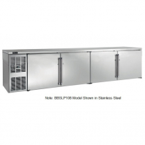 """Perlick BBSLP108_SSRGDC 108"""" Low Profile Back Bar Refrigerator, Glass Doors with Stainless Steel Frames and Right Condensing Unit"""