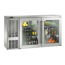 """Perlick BBSLP60_SSLGDC 60"""" Low Profile Back Bar Refrigerator, Glass Doors with Stainless Steel Frames and Left Condensing Unit"""