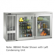 """Perlick BBSLP60_SSRGDC 60"""" Low Profile Back Bar Refrigerator, Glass Doors with Stainless Steel Frames and Right Condensing Unit"""