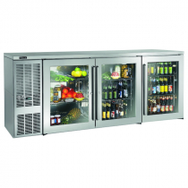 """Perlick BBSLP84_SSLGDC 84"""" Low Profile Back Bar Refrigerator, Glass Doors with Stainless Steel Frames and Left Condensing Unit"""