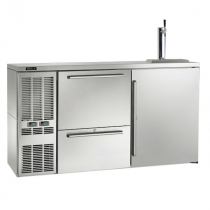 """Perlick DZS60_SSLDRWSDC_RR 60"""" Dual-Zone Back Bar Refrigerated Beer and Wine Storage Cabinet, with Drawers, Stainless Steel Door, RR Thermostat, and Left Condensing Unit"""