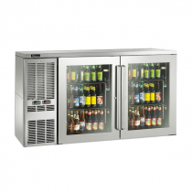 """Perlick DZS60_SSLGDC_RR 60"""" Dual-Zone Back Bar Refrigerated Beer and Wine Storage Cabinet, 2 Glass Doors with Stainless Steel Frames, RR Thermostat and Left Condensing Unit"""