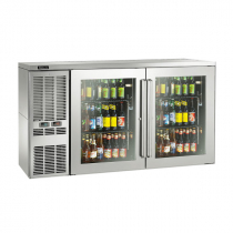 """Perlick DZS60_SSLGDC_RW 60"""" Dual-Zone Back Bar Refrigerated Beer and Wine Storage Cabinet, 2 Glass Doors with Stainless Steel Frames, RW Thermostat and Left Condensing Unit"""