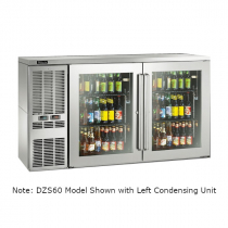 """Perlick DZS60_SSLGDC_WW 60"""" Dual-Zone Back Bar Refrigerated Beer and Wine Storage Cabinet, 2 Glass Doors with Stainless Steel Frames, WW Thermostat and Left Condensing Unit"""